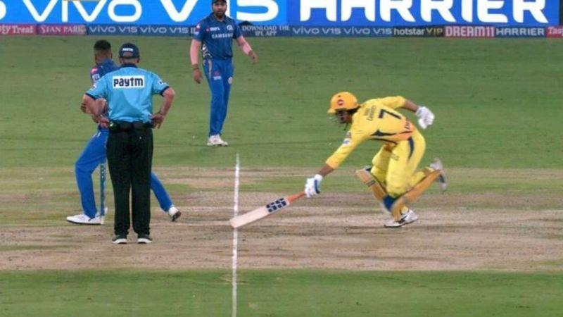 Dhoni Run out - Image Courtesy (BCCI/IPLR20.com)