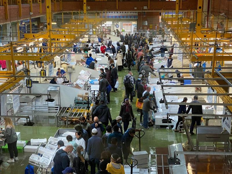 Billingsgate Fish Market is seen packed with shoppers on 19 September (Steve Monaghan)