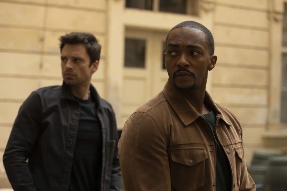 (L-R): Winter Soldier/Bucky Barnes (Sebastian Stan) and Falcon/Sam Wilson (Anthony Mackie) and in Marvel Studios' THE FALCON AND THE WINTER SOLDIER exclusively on Disney+. Photo by Julie Vrabelová. ©Marvel Studios 2021. All Rights Reserved.