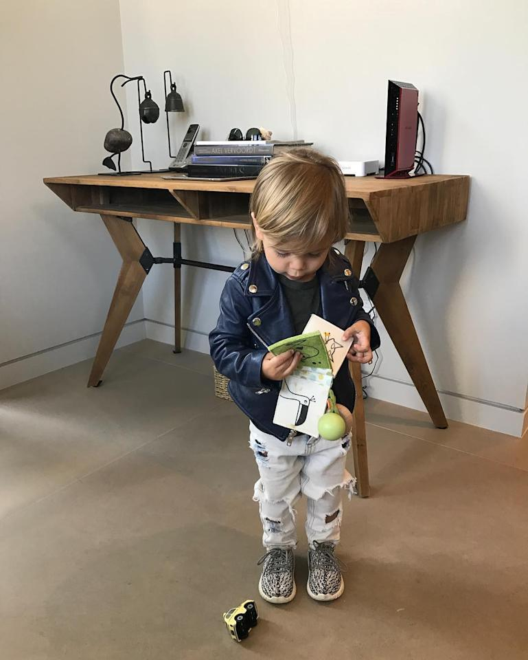 <p>Kourtney Kardashian's kids also have the sneakers hook-up. She posted an image on her Instagram channel of her 2-year-old son, Reign, wearing his pair. (Photo: Kourtney Kardashian/Instagram) </p>