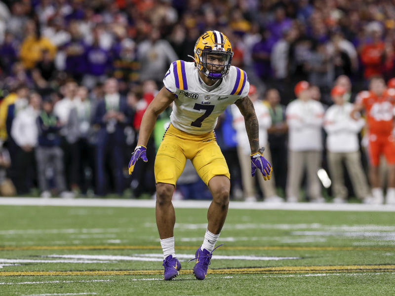 LSU safety Grant Delpit during the CFP national championship game against Clemson at the Mercedes-Benz Superdome on Jan. 13, 2020. (Photo by Don Juan Moore/Getty Images)