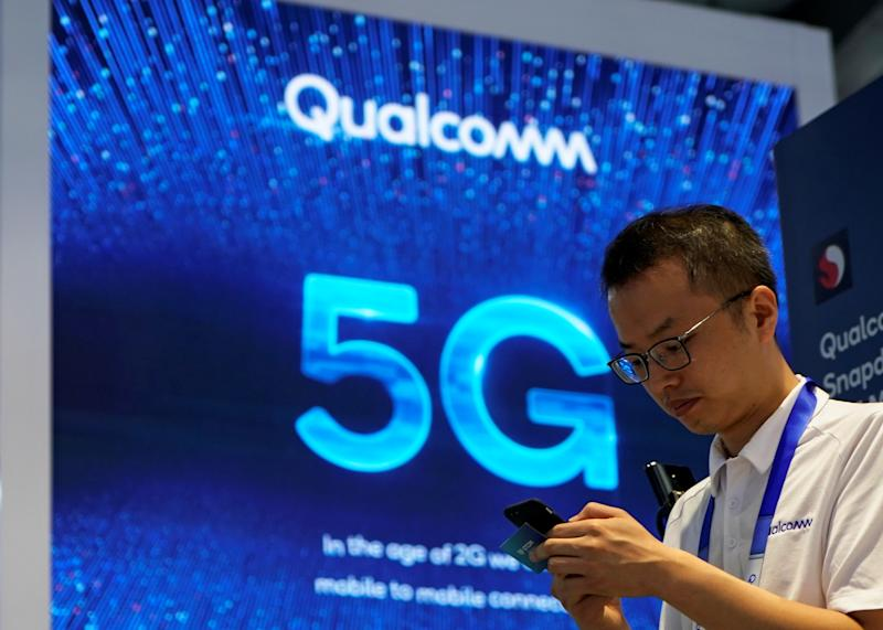 Signs of Qualcomm and 5G are pictured at Mobile World Congress (MWC) in Shanghai, China June 28, 2019. REUTERS/Aly Song