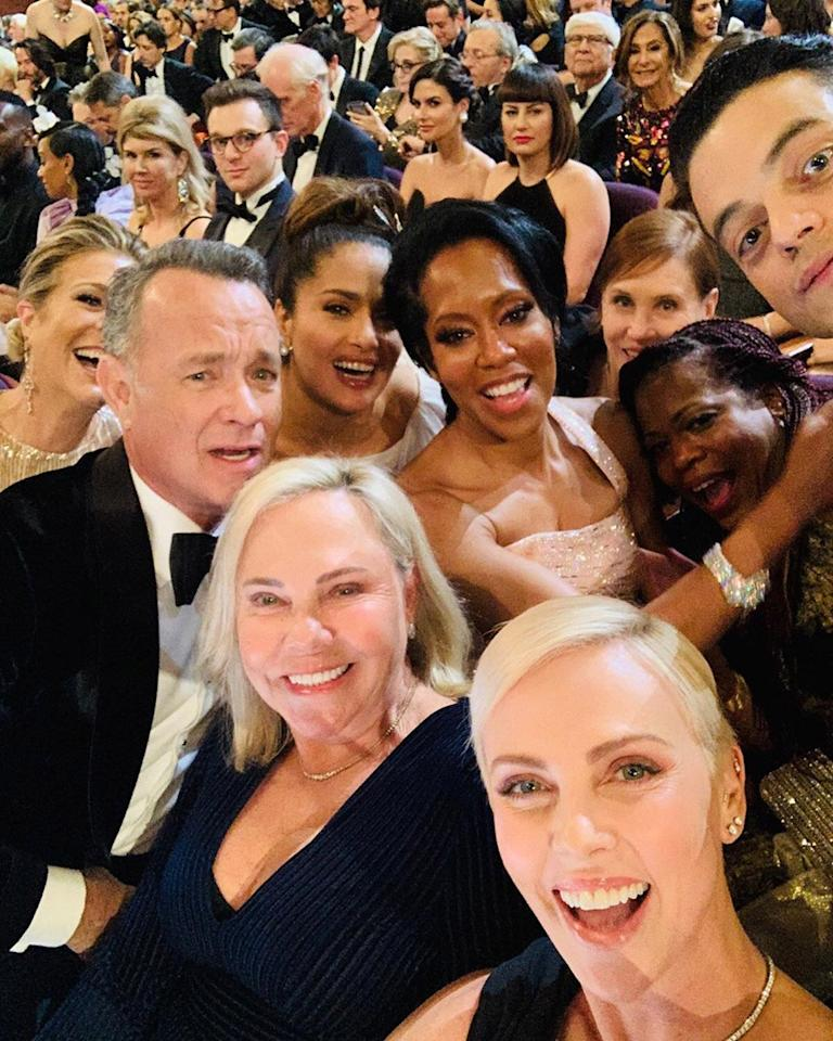 """Good company,"" <a href=""https://people.com/movies/charlize-theron-oscars-selfie-tom-hanks-salma-hayek/"">Theron shared on Instagram</a> following the <a href=""https://people.com/movies/oscars-2020-winners-list/"">2020 Oscars</a>. The star was in great spirits, as she was nominated for Best Actress for her portrayal of <a href=""https://www.people.com/tag/megyn-kelly/"">Megyn Kelly</a> in <em>Bombshell</em>."