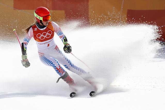 <p>Mikaela Shiffrin of the United States finishes on the way to winning the gold medal during the Ladies' Giant Slalom on day six of the PyeongChang 2018 Winter Olympic Games at Yongpyong Alpine Centre on February 15, 2018 in Pyeongchang-gun, South Korea. (Photo by Ezra Shaw/Getty Images) </p>