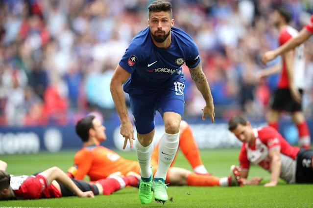 Olivier Giroud sent Chelsea to the FA Cup final with the first of two goals against Southampton in the semifinal. (Getty)