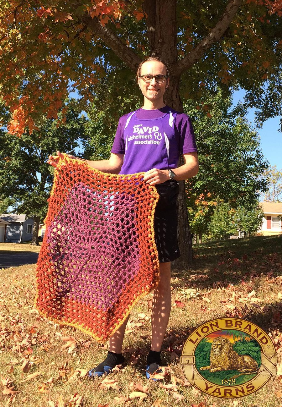 """<p>My running while knitting and <a href=""""https://www.crowdrise.com/TeamALZ2015TCSNYCMarathon1/fundraiser/theknittingrunner"""" rel=""""nofollow noopener"""" target=""""_blank"""" data-ylk=""""slk:fundraising"""" class=""""link rapid-noclick-resp"""">fundraising</a> helps to keep awareness focused on those who suffer and their caregivers.</p><p><i>—""""The Knitting Runner"""" David Babcock, 41, Warrensburg, Missouri. Will be crocheting as he runs the 2015 New York City Marathon to raise money for the <a href=""""https://www.crowdrise.com/TeamALZ2015TCSNYCMarathon1/fundraiser/theknittingrunner"""" rel=""""nofollow noopener"""" target=""""_blank"""" data-ylk=""""slk:Alzheimer's Association"""" class=""""link rapid-noclick-resp"""">Alzheimer's Association</a>. Photo by Julie Babcock.</i></p>"""