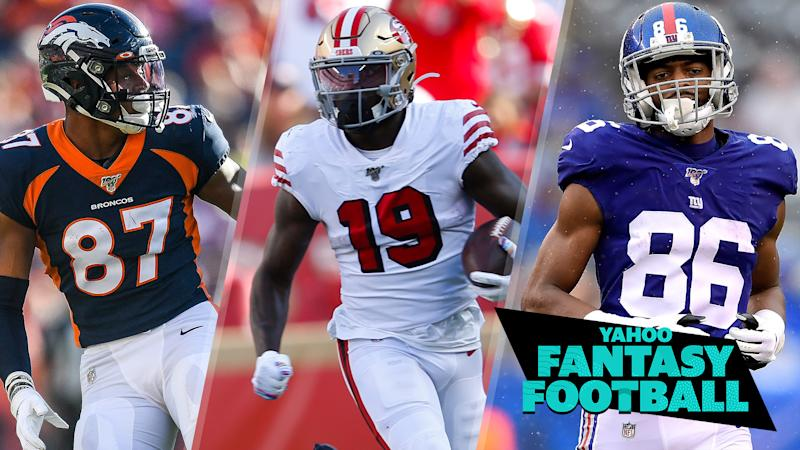 Noah Fant, Deebo Samuel and Darius Slayton are a trio of rookie pass catchers poised for a breakout second half to the season. (Photo credits L to R: Dustin Bradford/Michael Zagaris/Steven Ryan/Getty Images)