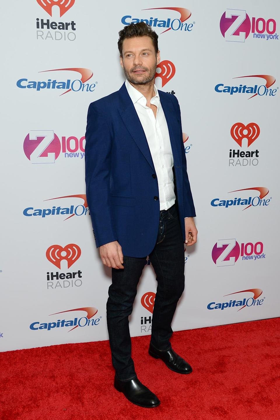 <p>Ryan Seacrest looked <i>so excited</i> excited to be at the show last night, serving us casual Friday realness in a pair of dark wash jeans, a white button down, navy blue jacket and black boots. </p>