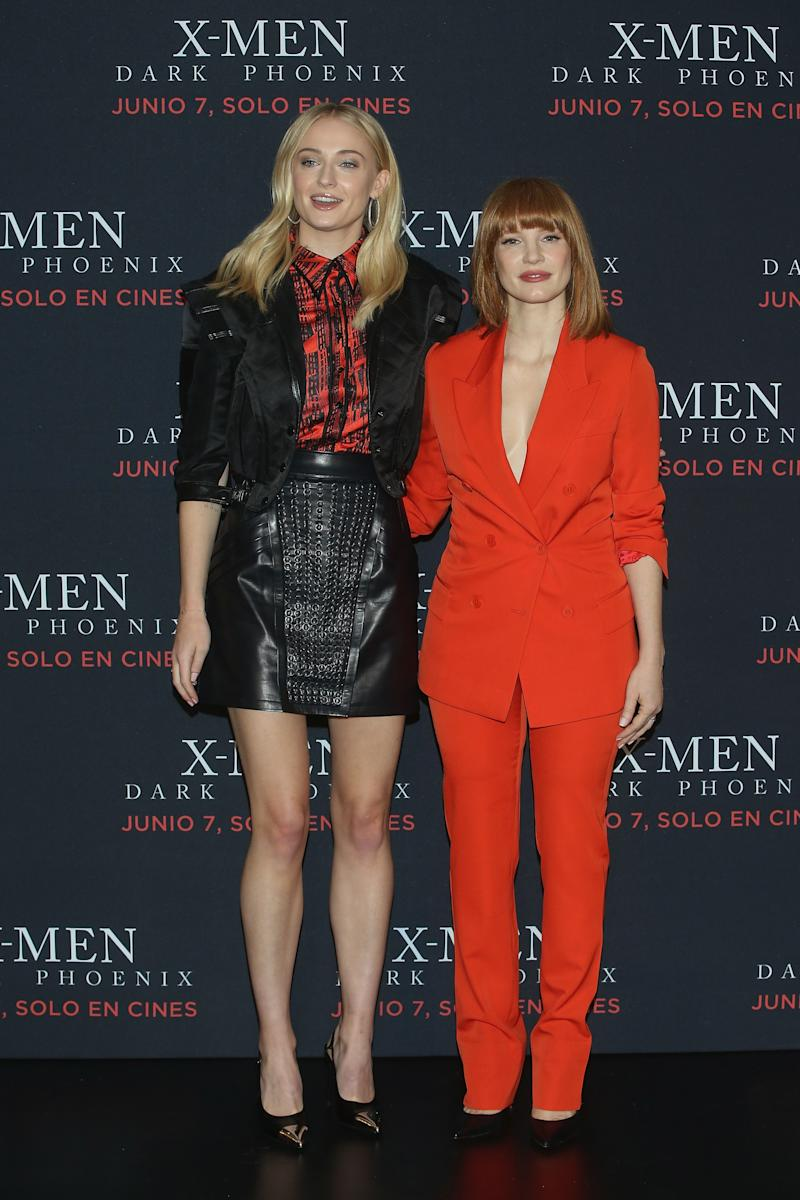 Sophie Turner and Jessica Chastain in Mexico City.