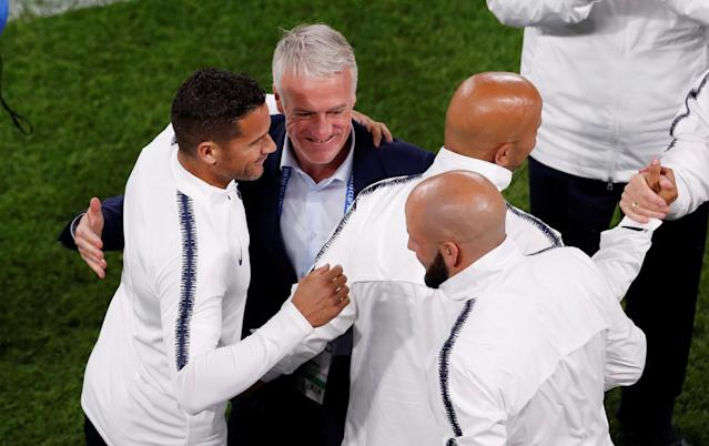 Soccer Football - World Cup - Group C - France vs Peru - Ekaterinburg Arena, Yekaterinburg, Russia - June 21, 2018 France coach Didier Deschamps celebrates after the match REUTERS/Andrew Couldridge