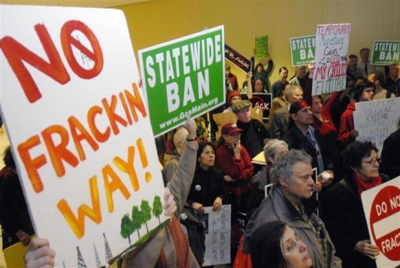 Protesters against the drilling process of hydraulic fracturing for extracting natural gas take part in a demonstration at the Capitol in Albany, New York January 25, 2010.