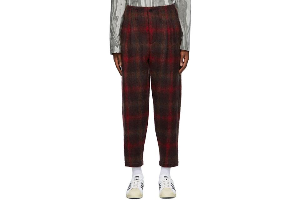 "$640, SSENSE. <a href=""https://www.ssense.com/en-us/men/product/nicholas-daley/red-two-pleat-trousers/5660971"" rel=""nofollow noopener"" target=""_blank"" data-ylk=""slk:Get it now!"" class=""link rapid-noclick-resp"">Get it now!</a>"