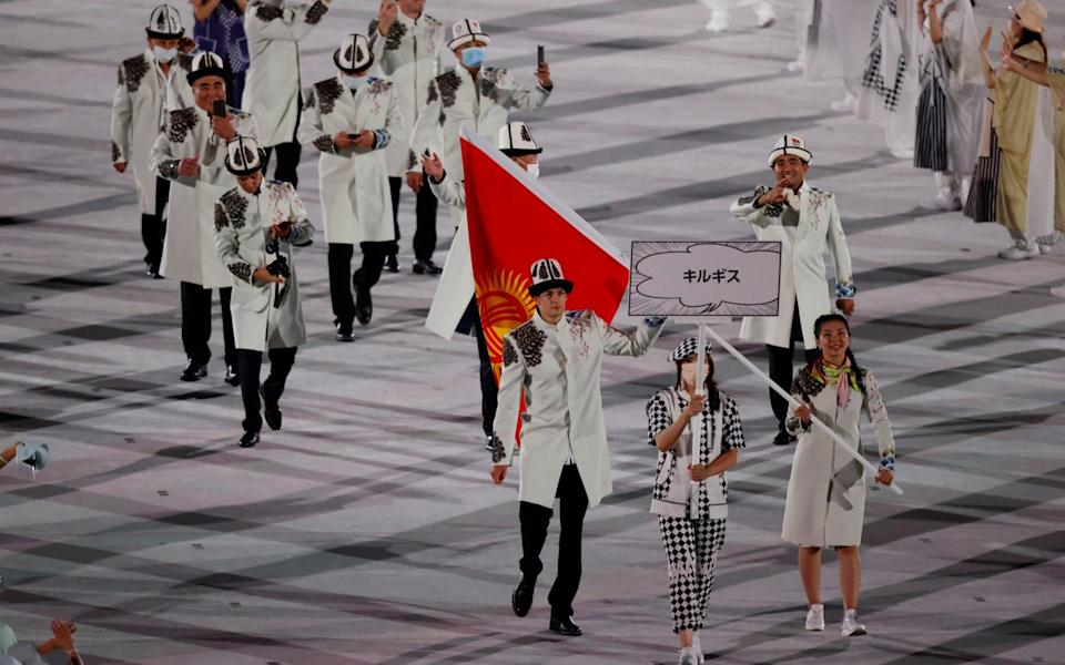 The Kyrgyzstan team at the opening ceremony - REUTERS