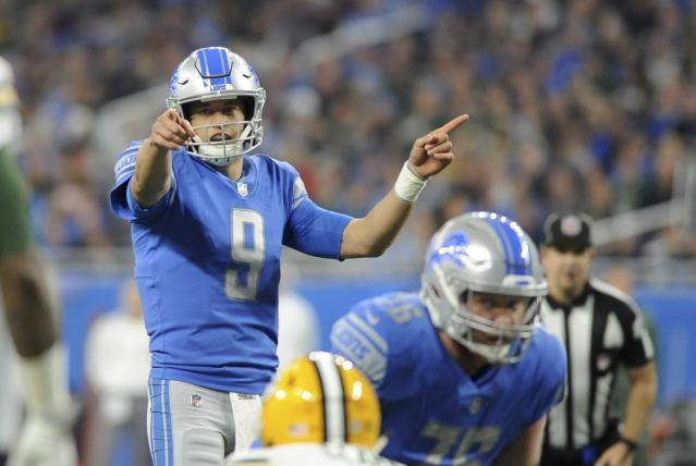 Lions quarterback Matthew Stafford is the top selling point for the head coaching job in Detroit. (AP)
