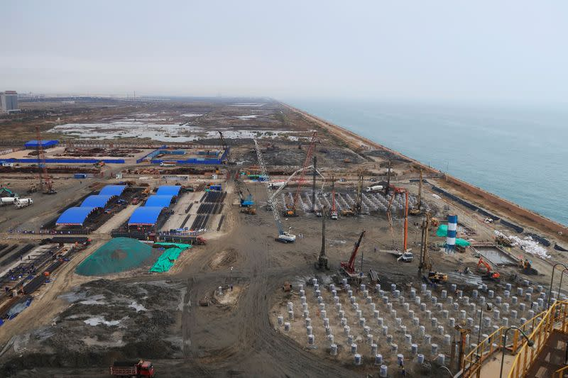 A general view shows groundwork for new gas storage tanks at PetroChina-controlled Caofeidian gas terminal in Tangshan