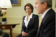 <p>Pelosi speaks to the press next to George W. Bush after the 2006 midterm elections that year. </p>