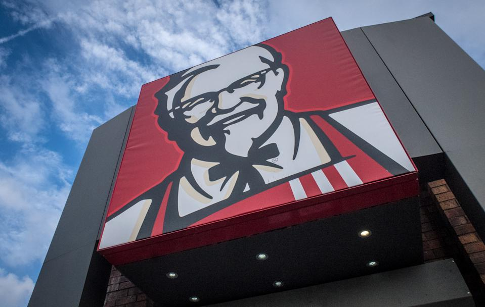 BRISTOL, ENGLAND - FEBRUARY 20:  The KFC logo is pictured outside a branch of KFC that is operating a limited menu due to problems with the delivery of chicken on February 20, 2018 in Bristol, England. KFC has been forced to close hundred of its outlets as a shortage of chicken, due to a failure at the company's new delivery firm DHL, has disrupted the fast-food giant's UK operation and is thought to be costing the fast food chain £1million a day.  (Photo by Matt Cardy/Getty Images)