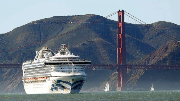 PHOTO: In this photo taken on Feb. 11, 2020, the Grand Princess cruise ship passes the Golden Gate Bridge as it arrives from Hawaii in San Francisco. (Scott Strazzante/San Francisco Chronicle via AP)