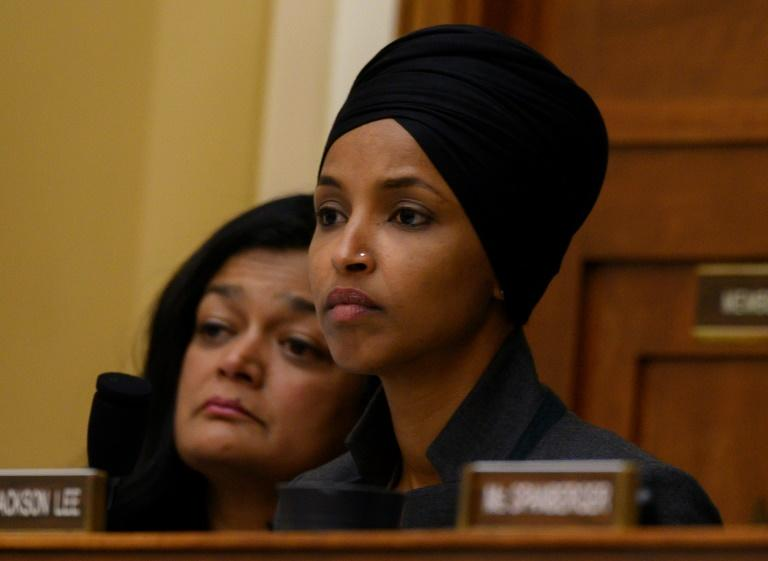 Representative Ilhan Omar (front) takes part in a hearing on human rights in South Asia (AFP Photo/Andrew CABALLERO-REYNOLDS)