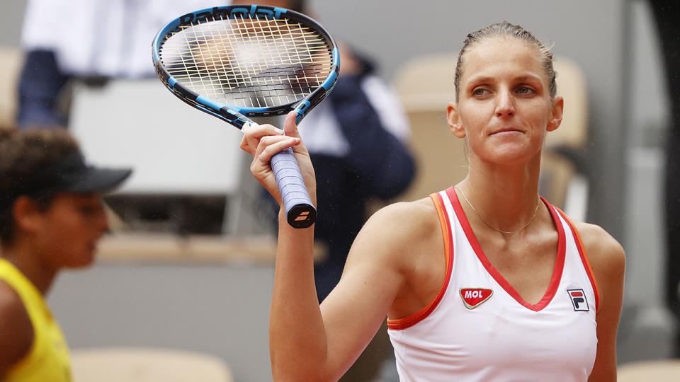Karolina Pliskova of the Czech Republic suffered a shock upset loss to qualifier Veronika Kudermetova at her home Ostrava Open. (Photo by Clive Brunskill/Getty Images)