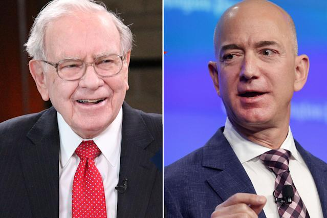 Warren Buffett (L) and Jeff Bezos.