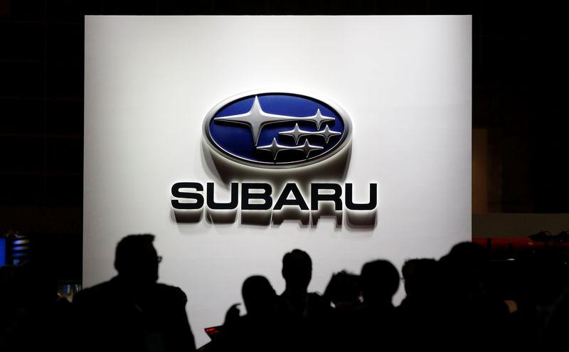 The logo of Subaru Corp. is pictured at the 45th Tokyo Motor Show in Tokyo, Japan October 25, 2017. Picture taken October 25, 2017. REUTERS/Toru Hanai - RC150E746E90