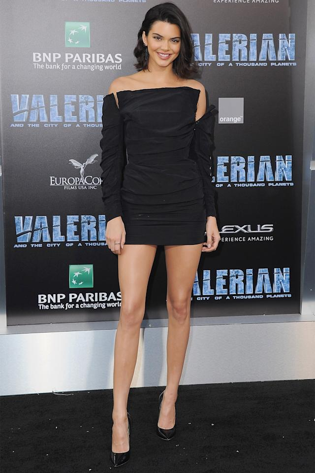 """<p>In a Carmen March black dress and patent leather heels while attending the premiere of """"Valerian And The City Of A Thousand Planets"""" in Los Angeles. </p>"""