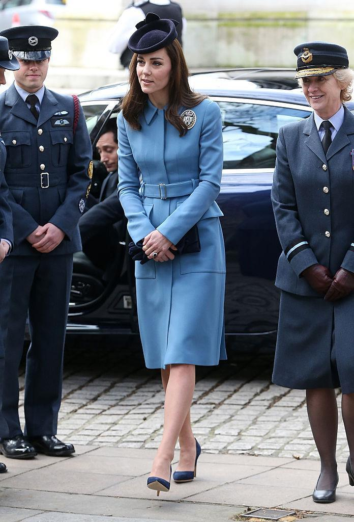 The Duchess donned the sky-blue shade on multiple occasions. <i>(Photo: Getty).</i>