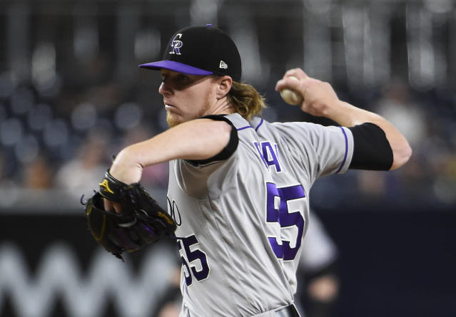 "Rockies starter <a class=""link rapid-noclick-resp"" href=""/mlb/players/9567/"" data-ylk=""slk:Jon Gray"">Jon Gray</a> was roughed up by Arizona in his postseason debut. (AP)"