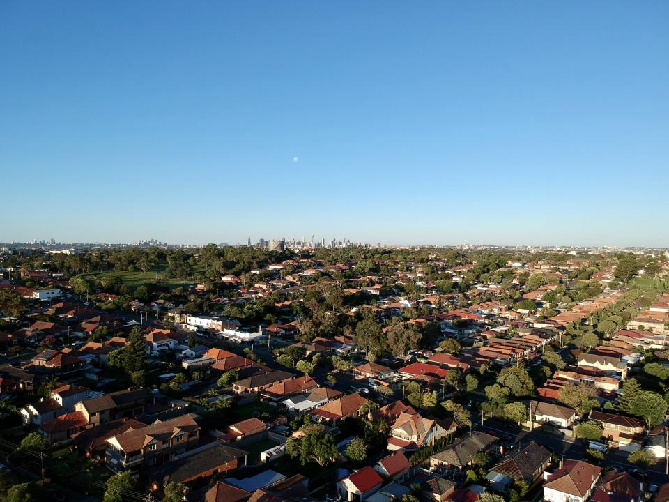 Drone panoramic aerial view of Sydney NSW Australia city Skyline and looking down on all suburbs