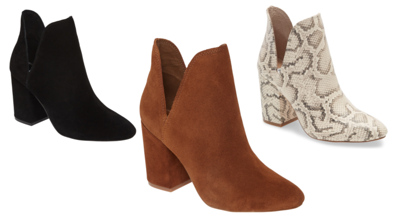 The Rookie Bootie in Black, Chestnut Suede and Snake Print.