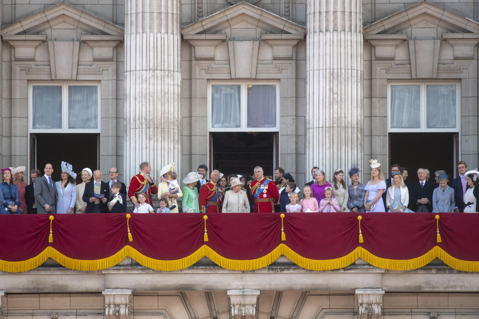 Queen Elizabeth II is joined by members of the royal family on the balcony of Buckingham Place to acknowledge the crowd after the Trooping the Colour ceremony, as she celebrates her official birthday. (Photo by Victoria Jones/PA Images via Getty Images)