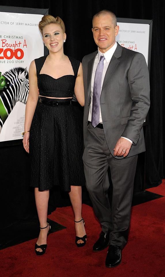 "<a href=""http://movies.yahoo.com/movie/contributor/1800022348"">Scarlett Johansson</a> and <a href=""http://movies.yahoo.com/movie/contributor/1800020155"">Matt Damon</a> at the New York premiere of <a href=""http://movies.yahoo.com/movie/1810164709/info"">We Bought a Zoo</a> on December 12, 2011."