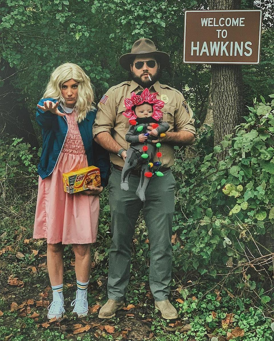 """<p>These family costumes are guaranteed to steal the show at any Halloween party or neighborhood bash. All you need is a Jim Hopper uniform, an Eleven ensemble, and a teeny-tiny Demogorgon costume for your baby. </p><p><strong>See more at <a href=""""https://www.instagram.com/p/BpdGJmGlWnh/"""" rel=""""nofollow noopener"""" target=""""_blank"""" data-ylk=""""slk:@michaelstabb"""" class=""""link rapid-noclick-resp"""">@michaelstabb</a>. </strong></p><p><a class=""""link rapid-noclick-resp"""" href=""""https://go.redirectingat.com?id=74968X1596630&url=https%3A%2F%2Fwww.walmart.com%2Fip%2FHalloween-Stranger-Things-Jim-Hopper-Adult-Costume%2F535865799&sref=https%3A%2F%2Fwww.countryliving.com%2Fdiy-crafts%2Fg29398849%2Fdiy-stranger-things-costumes%2F"""" rel=""""nofollow noopener"""" target=""""_blank"""" data-ylk=""""slk:SHOP JIM HOPPER COSTUMES"""">SHOP JIM HOPPER COSTUMES</a></p>"""