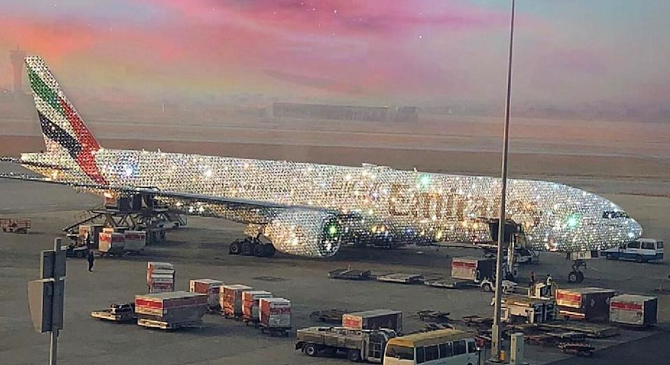 The plane appears to be a Boeing 777 covered in diamonds. [Photo: Twitter/@emirates]