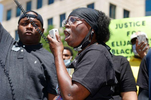 PHOTO: Sheneen McClain speaks during a rally and march over the death of her son, Elijah McClain, outside the police department in Aurora, Colo. (David Zalubowski/AP, FILE)