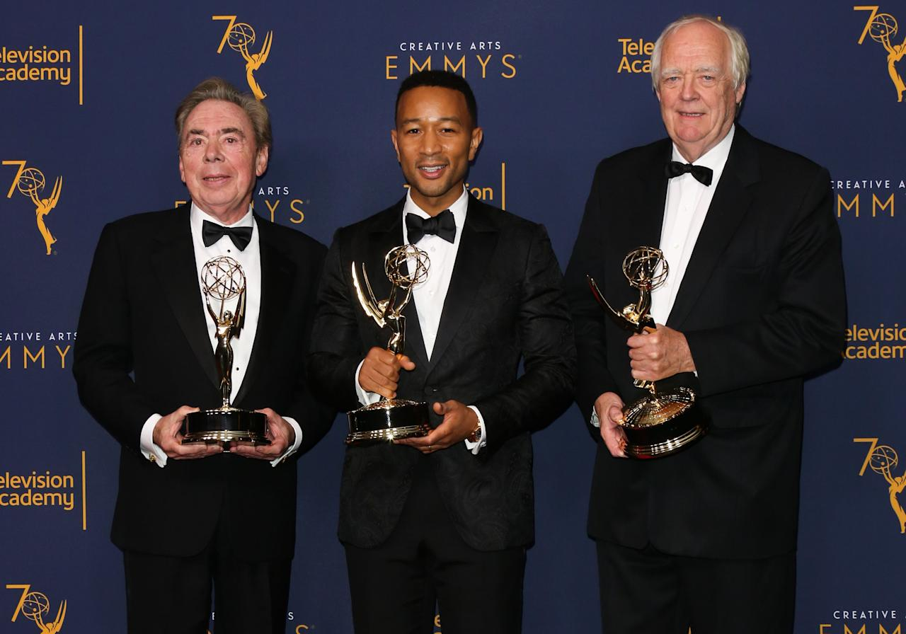"<p>The 2018 Emmy awards ushered not just one, but <em>three</em> new names onto the prestigious list of EGOT winners. <a rel=""nofollow"" href=""https://www.townandcountrymag.com/society/a9586173/john-legend-interview/"">John Legend</a>, <a rel=""nofollow"" href=""https://www.townandcountrymag.com/leisure/arts-and-culture/a16602613/andrew-lloyd-webber-interview/"">Andrew Lloyd Webber</a>, and Tim Rice achieved the extremely rare honor of having an Emmy, Grammy, Oscar, and Tony Award in competitive categories (i.e. without special or honorary awards) to their names. But they're not the only artists in history to have ever pulled off an award show superfecta. Here, take a look at every composer, musician, actor, and director to attain the title of EGOT. </p>"