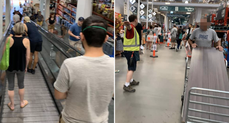 Shoppers shown inside a busy Bunnings store in Sydney, some not adhering to social distancing rules. Source: Facebook