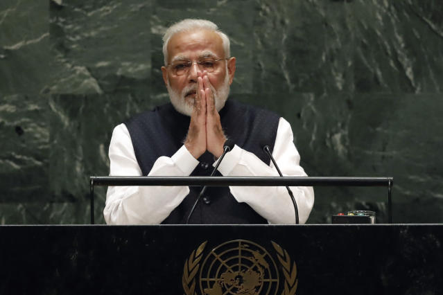India's Prime Minister Narendra Modi addresses the 74th session of the United Nations General Assembly, Friday, Sept. 27, 2019. (AP Photo/Richard Drew)