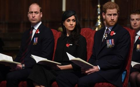 The Duke of Cambridge, Meghan Markle and Prince Harry at Westminster Abbey - Credit: Eddie Mulholland For The Telegraph