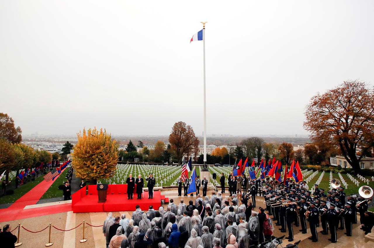 <p>President Donald Trump takes part in the commemoration ceremony for Armistice Day, 100 years after the end of World War One, at the Suresnes American Cemetery and Memorial in Paris, France, Nov. 11, 2018. (Photo: Carlos Barria/Reuters) </p>