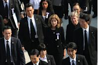 <p>Caroline Kennedy, U.S. Ambassador to Japan, leaves after the memorial ceremony at the Hiroshima Peace Memorial Park on the 70th anniversary of the atomic bombing of Hiroshima.</p>