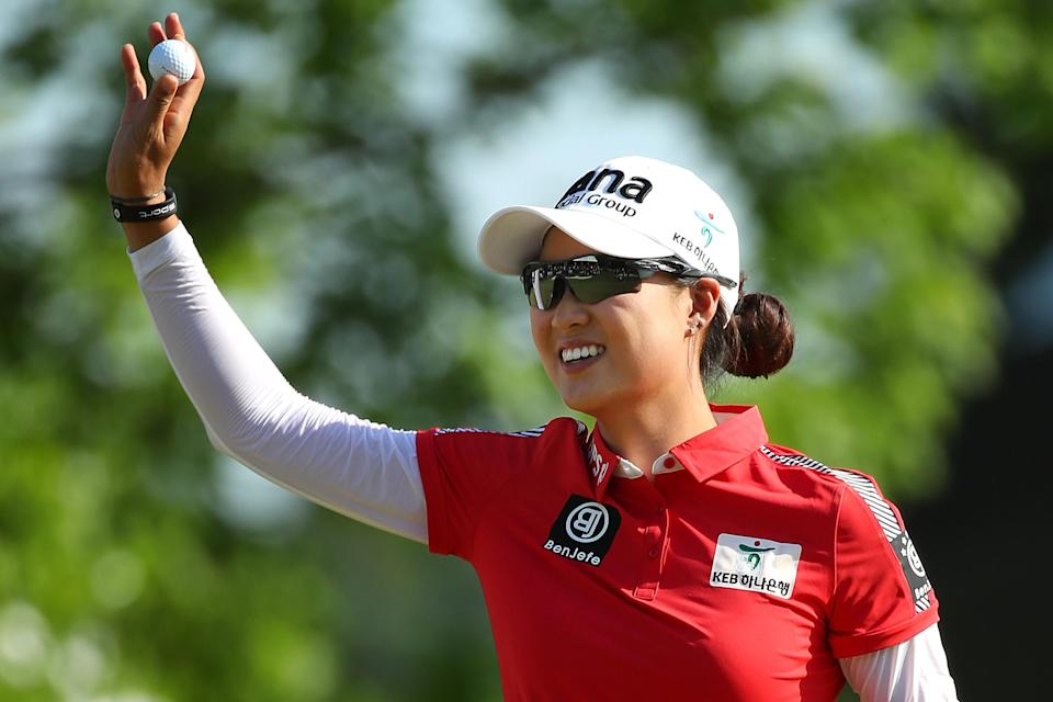 ANN ARBOR, MI - MAY 27: MinJee Lee of Australia reacts to a birdie on the 18th green to win the LPGA Volvik Championship on May 27, 2018 at Travis Pointe Country Club Ann Arbor, Michigan. (Photo by Gregory Shamus/Getty Images)