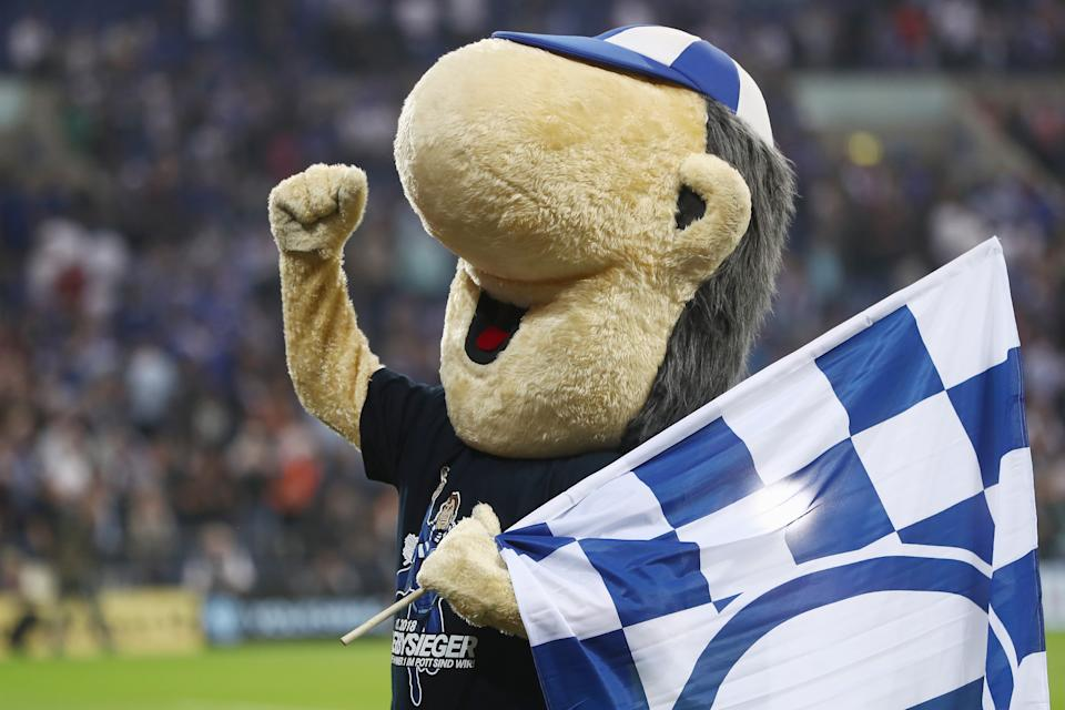 FC Schalke's mascot is Erwin Koslowski. What is it? Supposedly a caricature of a Schalke fan, it just looks like a weird, made up creature.