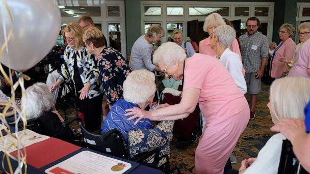 PHOTO: Well-wishers and honorees mingle at a celebration for six Nashville women who are all at least 100 years old at the Meadows Lakeshore Senior Living in Nashville, Aug. 15, 2019. (Courtesy Family Staffing Solutions)