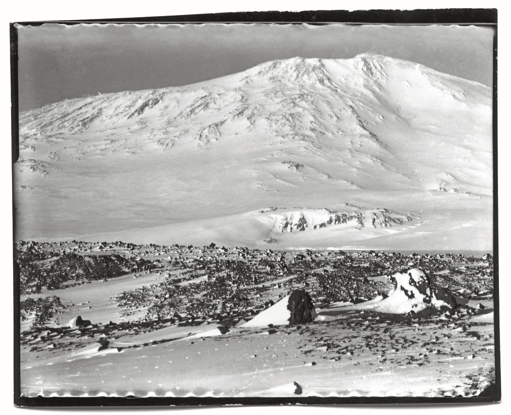 """Mount Erebus from the Ramp, Cape Evans, October, 1911.<br><br>(Photo credit: ©2011 Richard Kossow)<br><br>For more information on """"The Lost Photographs of Captain Scott"""" and where to buy the book, visit <a target=""""_blank"""" href=""""http://www.hachettebookgroup.com/books_9780316178501.htm"""">hachettebookgroup.com</a>"""