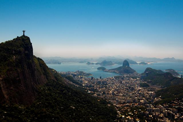 RIO DE JANEIRO, BRAZIL - NOVEMBER 12: View of with Christ the Redeemer (L) and Sugar Loaf at background on November 12, 2013 in Rio de Janeiro, Brazil. (Photo by Buda Mendes/Getty Images)