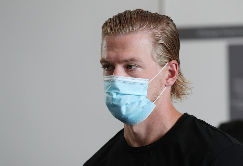 EDMONTON, ALBERTA - JULY 26:  Anton Lindholm #54 of the Colorado Avalanche arrives at the JW Marriott prior to the 2020 NHL Stanley Cup Playoffs at Rogers Place on July 26, 2020 in Edmonton, Alberta. (Photo by Dave Sandford/NHLI via Getty Images)