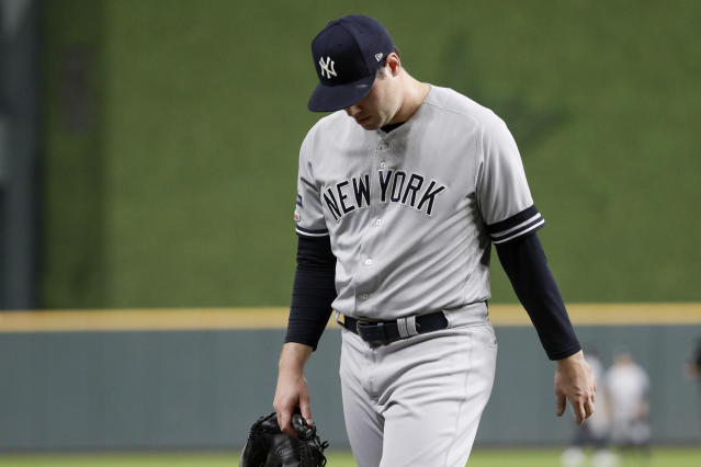 New York Yankees relief pitcher Adam Ottavino leaves the game against the Houston Astros during the fifth inning in Game 2 of baseball's American League Championship Series Sunday, Oct. 13, 2019, in Houston. (AP Photo/Eric Gay)