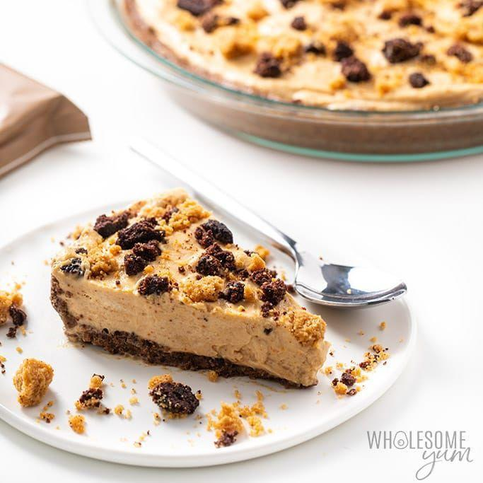 """<p>Keto cookies give this peanut butter pie a dense, chewy crust that goes perfectly with its creamy filling. </p><p><a class=""""link rapid-noclick-resp"""" href=""""https://www.wholesomeyum.com/low-carb-peanut-butter-pie-recipe/"""" rel=""""nofollow noopener"""" target=""""_blank"""" data-ylk=""""slk:GET THE RECIPE"""">GET THE RECIPE</a></p><p><em>Per serving: 304 calories, 28 g fat, 7 g carbs, 2 g fiber, 2 g sugar, 6 g protein</em></p>"""